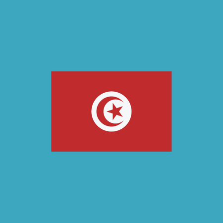Tunisia flag icon in flat design. Independence day or National day holiday concept.