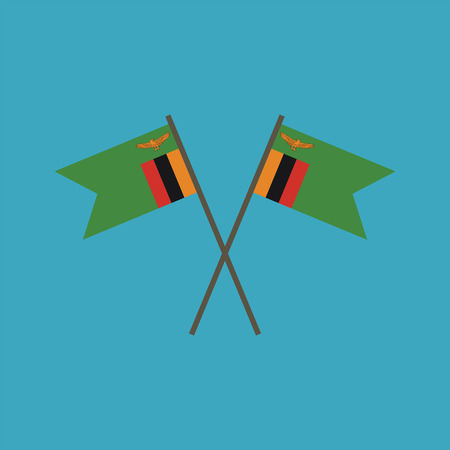 Zambia flag icon in flat design. Independence day or National day holiday concept.