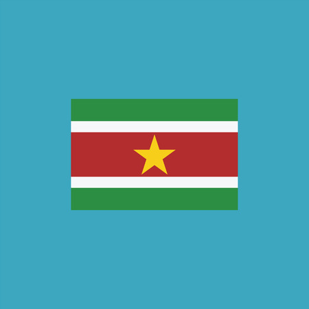 Suriname flag icon in flat design. Independence day or National day holiday concept.