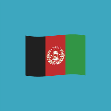 Afghanistan flag icon in flat design. Independence day or National day holiday concept.