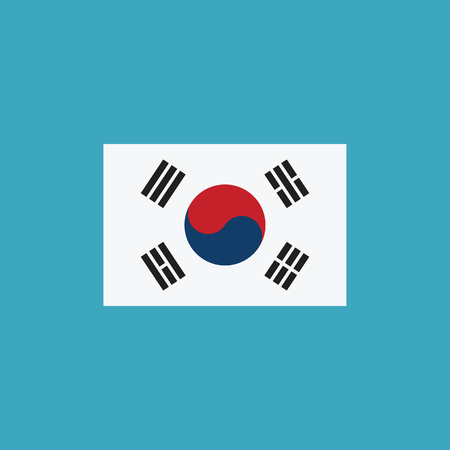 South Korea flag icon in flat design. Independence day or National day holiday concept.