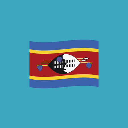 Swaziland flag icon in flat design. Independence day or National day holiday concept.