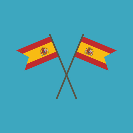 Spain flag icon in flat design. Independence day or National day holiday concept.