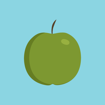 Green apple icon in flat design with blue background.