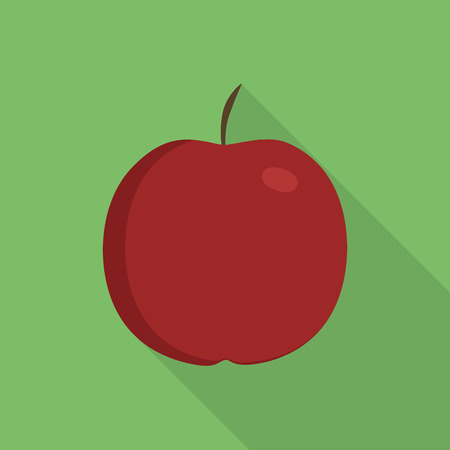 Red apple icon in flat long shadow design with green background. Ilustração