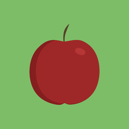 Red apple icon in flat design with green background.