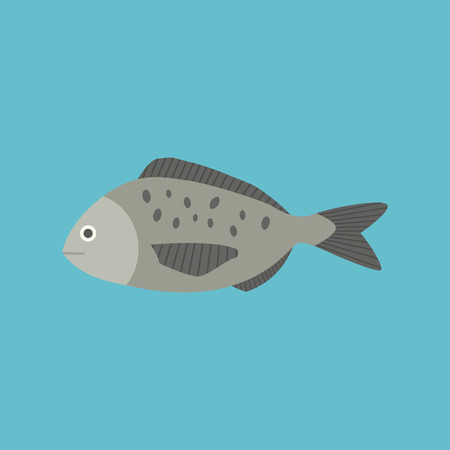 Gray fish icon in flat design with blue background 일러스트