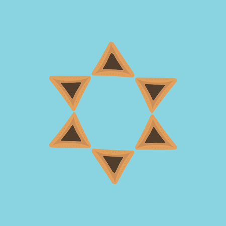 Purim holiday flat design icons of hamantashs in star of david shape with blue background. Vector eps10 illustration.