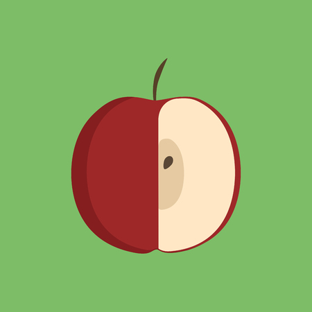Red half apple icon in flat design with green background. Ilustração