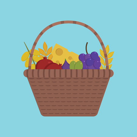 Wicker basket with fruits and dairy products icon in flat design with blue background. Harvest Shavuot holiday concept.