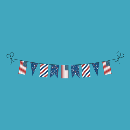 Decorations bunting flags for United States national day holiday in flat design. Independence day or National day holiday concept.