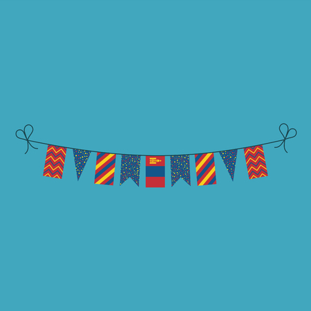 Decorations bunting flags for Mongolia national day holiday in flat design. Independence day or National day holiday concept.