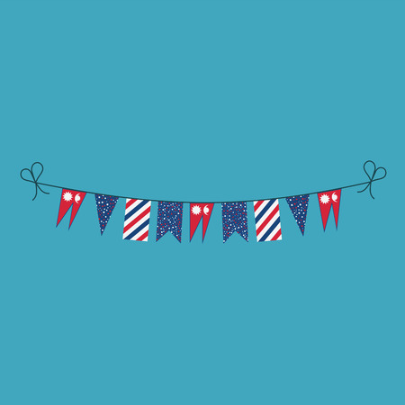 Decorations bunting flags for Nepal national day holiday in flat design. Independence day or National day holiday concept.