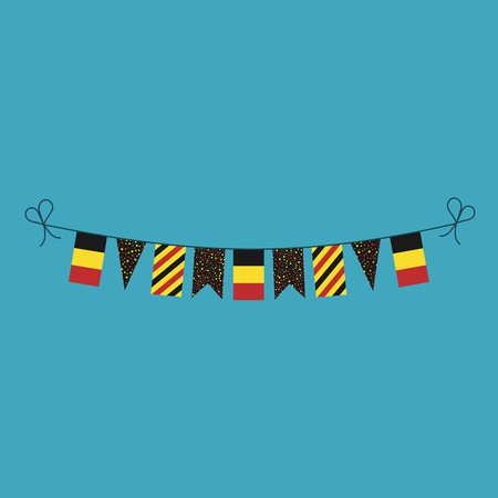 Decorations bunting flags for Belgium national day holiday in flat design. Independence day or National day holiday concept. Vektorové ilustrace