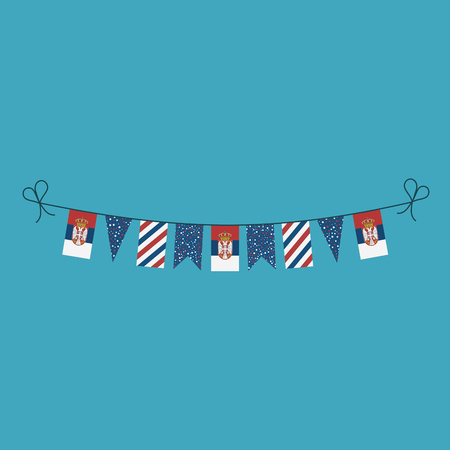 Decorations bunting flags for Serbia national day holiday in flat design. Independence day or National day holiday concept. Ilustração