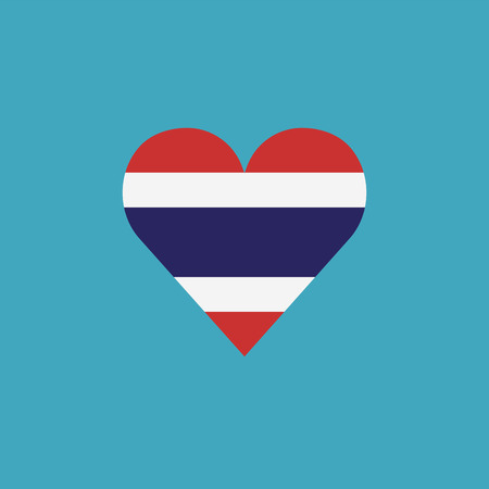 Thailand flag icon in a heart shape in flat design. Independence day or National day holiday concept.