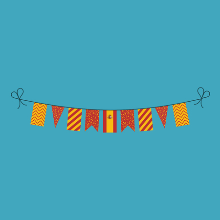 Decorations bunting flags for Spain national day holiday in flat design. Independence day or National day holiday concept.