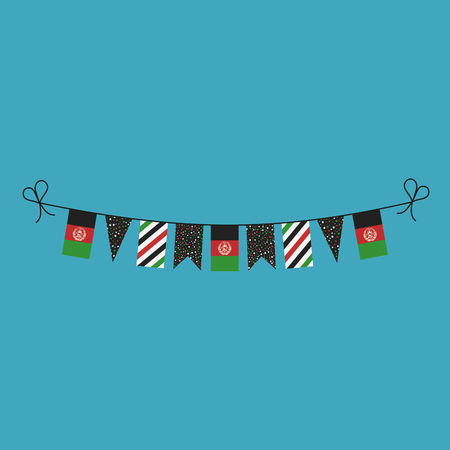 Decorations bunting flags for Afghanistan national day holiday in flat design. Independence day or National day holiday concept.
