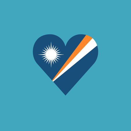 Marshall Islands flag icon in a heart shape in flat design. Independence day or National day holiday concept. Illustration