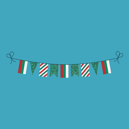 Decorations bunting flags for Bulgaria national day holiday in flat design. Independence day or National day holiday concept.
