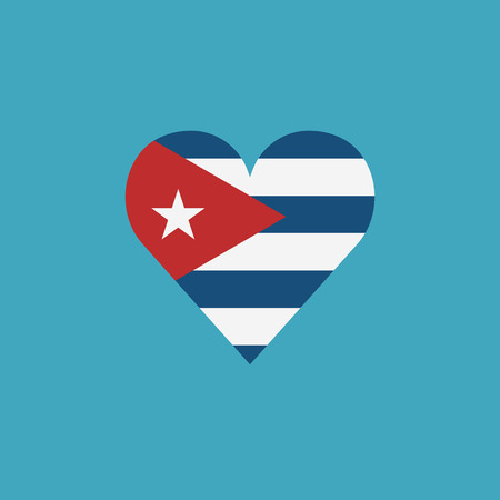 Cuba flag icon in a heart shape in flat design. Independence day or National day holiday concept.  イラスト・ベクター素材
