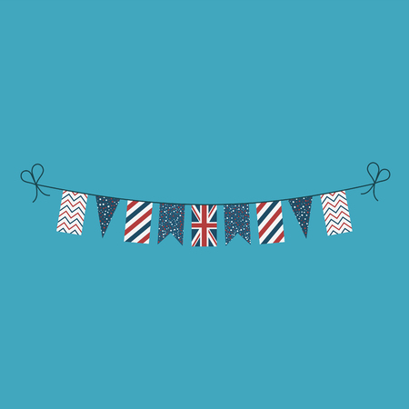 Decorations bunting flags for United Kingdom national day holiday in flat design. Independence day or National day holiday concept.