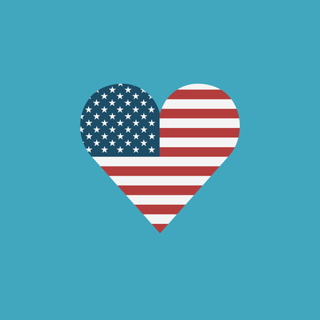 United States flag icon in a heart shape in flat design. Independence day or National day holiday concept.