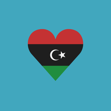 Libya flag icon in a heart shape in flat design. Independence day or National day holiday concept. Illustration
