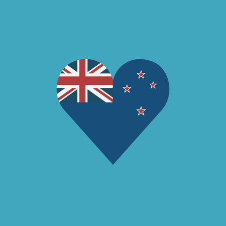 New Zealand flag icon in a heart shape in flat design. Independence day or National day holiday concept. Ilustração