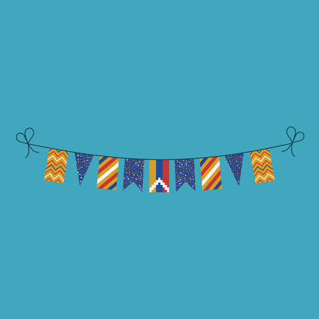 Decorations bunting flags for Republic of Artsakh national day holiday in flat design. Independence day or National day holiday concept.