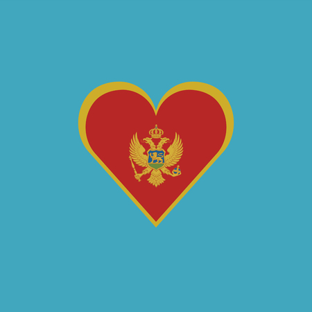 Montenegro flag icon in a heart shape in flat design. Independence day or National day holiday concept.