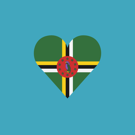Dominica flag icon in a heart shape in flat design. Independence day or National day holiday concept. Ilustração