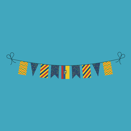 Decorations bunting flags for Ecuador national day holiday in flat design. Independence day or National day holiday concept.