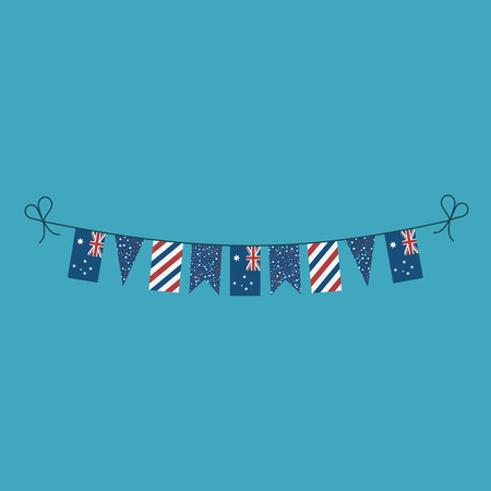 Decorations bunting flags for Australia national day holiday in flat design. Independence day or National day holiday concept. Ilustração