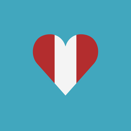 Peru flag icon in a heart shape in flat design. Independence day or National day holiday concept.