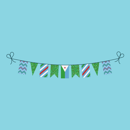 Decorations bunting flags for Djibouti national day holiday in flat design. Independence day or National day holiday concept.