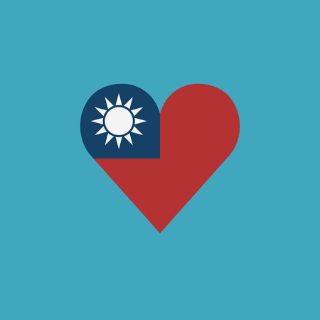 Taiwan flag icon in a heart shape in flat design. Independence day or National day holiday concept.