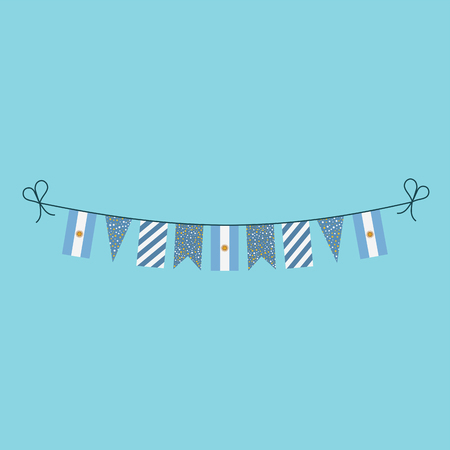 Decorations bunting flags for Argentina national day holiday in flat design. Independence day or National day holiday concept. Vektoros illusztráció