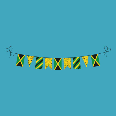 Decorations bunting flags for Jamaica national day holiday in flat design. Independence day or National day holiday concept. Vetores