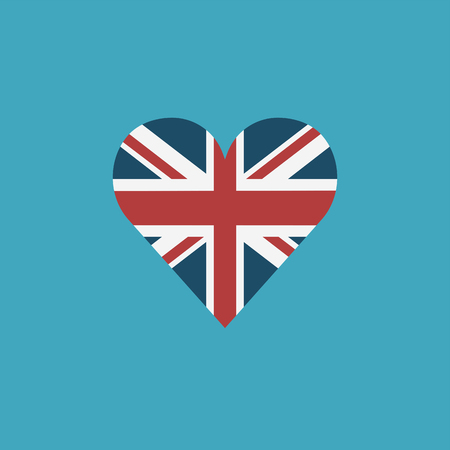 United Kingdom flag icon in a heart shape in flat design. Independence day or National day holiday concept.