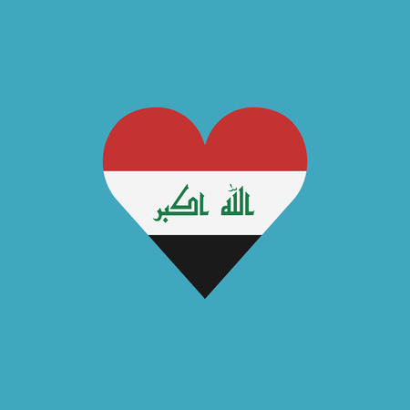 Iraq flag icon in a heart shape in flat design. Independence day or National day holiday concept.