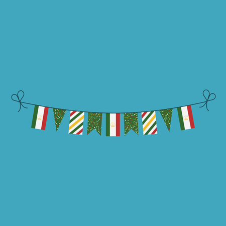 Decorations bunting flags for Tajikistan national day holiday in flat design. Independence day or National day holiday concept.