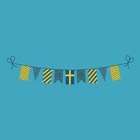 Decorations bunting flags for Sweden national day holiday in flat design. Independence day or National day holiday concept.