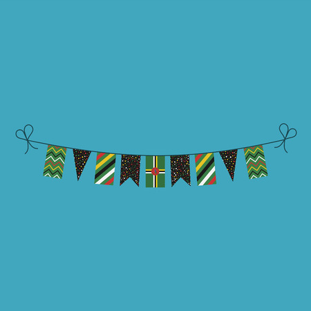 Decorations bunting flags for Dominica national day holiday in flat design. Independence day or National day holiday concept. 向量圖像