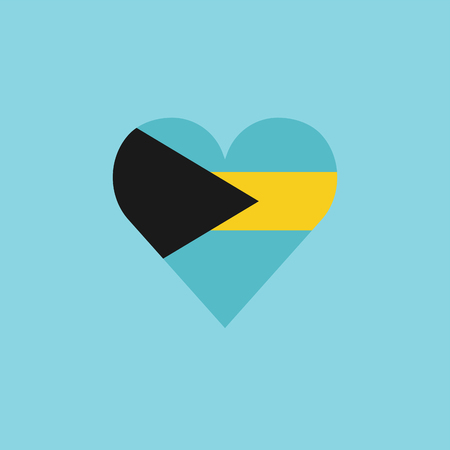 Bahamas flag icon in a heart shape in flat design. Independence day or National day holiday concept.