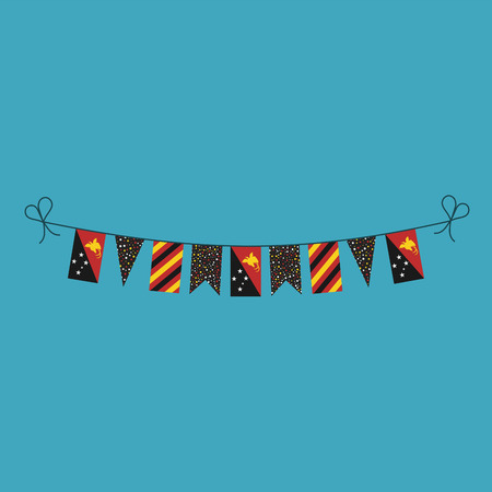 Decorations bunting flags for Papua New Guinea national day holiday in flat design. Independence day or National day holiday concept.