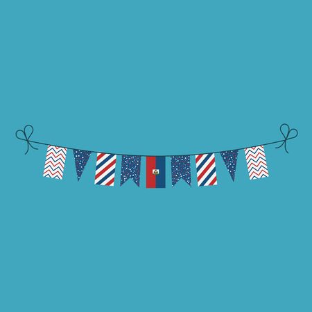 Decorations bunting flags for Haiti national day holiday in flat design. Independence day or National day holiday concept.