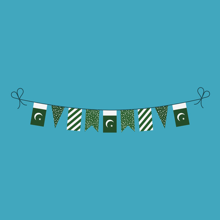 Decorations bunting flags for Pakistan national day holiday in flat design. Independence day or National day holiday concept.