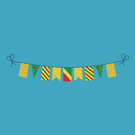 Decorations bunting flags for Republic of the Congo national day holiday in flat design. Independence day or National day holiday concept.