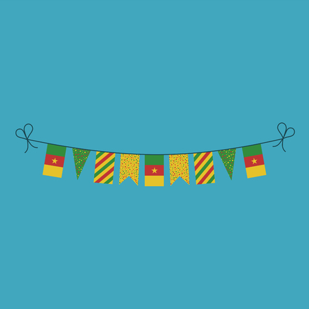 Decorations bunting flags for Cameroon national day holiday in flat design. Independence day or National day holiday concept.